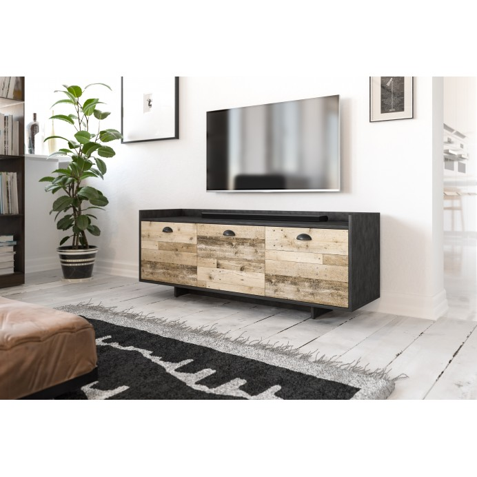 Komoda/Tv stand CUP GRAPHITE/OLD WOOD 140,0x40x53,0