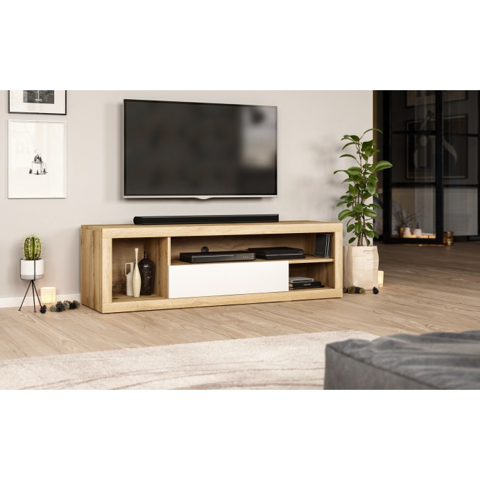 EVER tv stand wotan oak/white 140 x 40 x 42,6