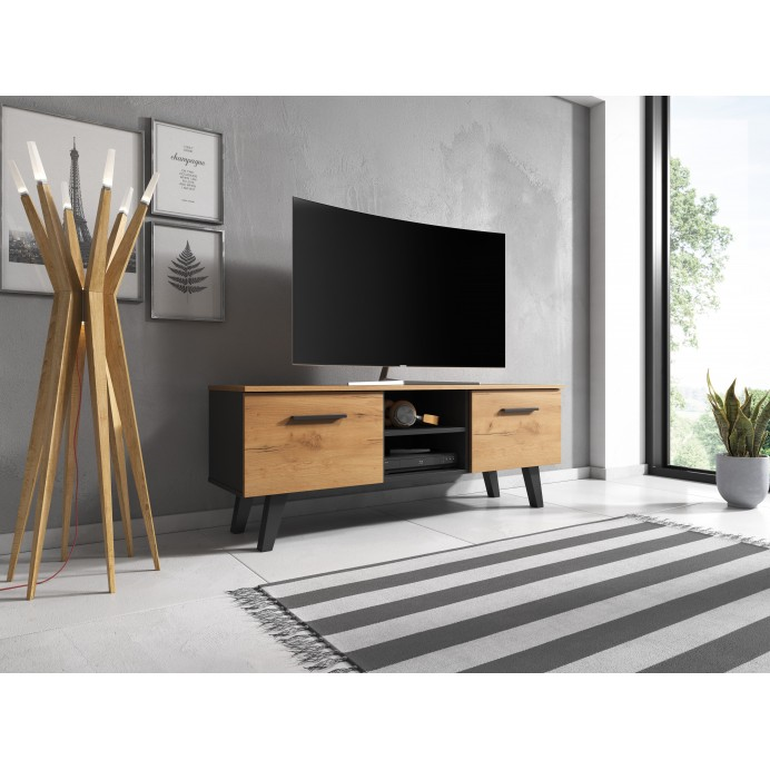 Nord 140 TV stand black/craft gold 140X38X52